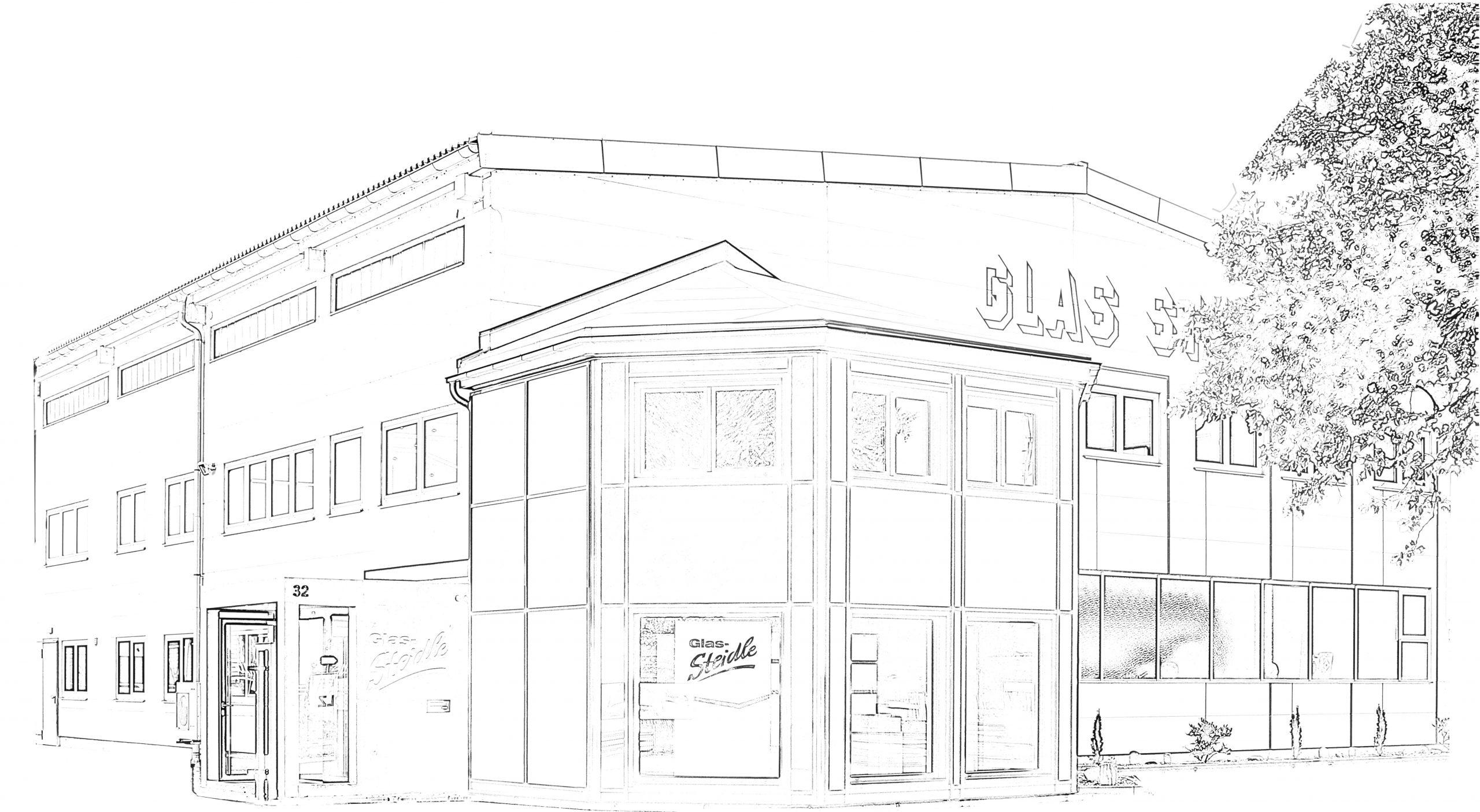 Stilisierte Aussenansicht des Gebäudes Glas-Steidle Singen