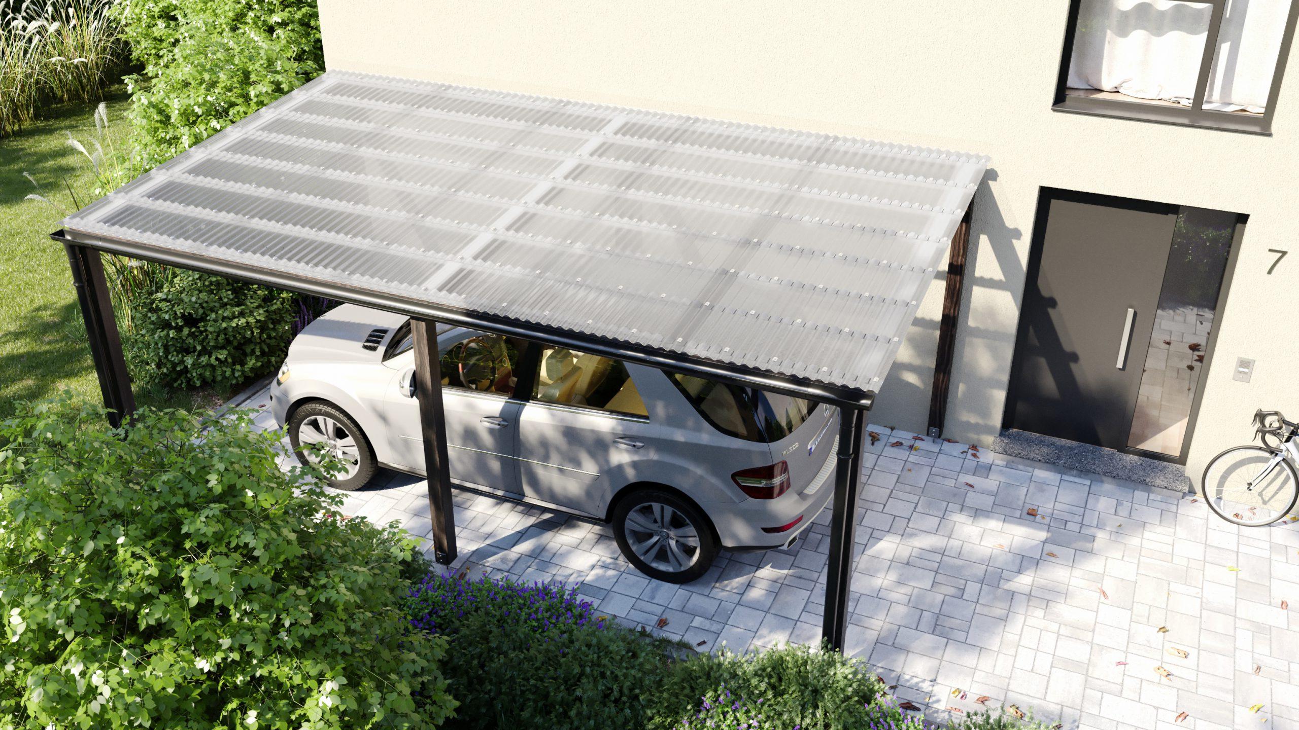 Carport mit PLEXIGLAS® Lichtwellplatten mit Wabenstruktur