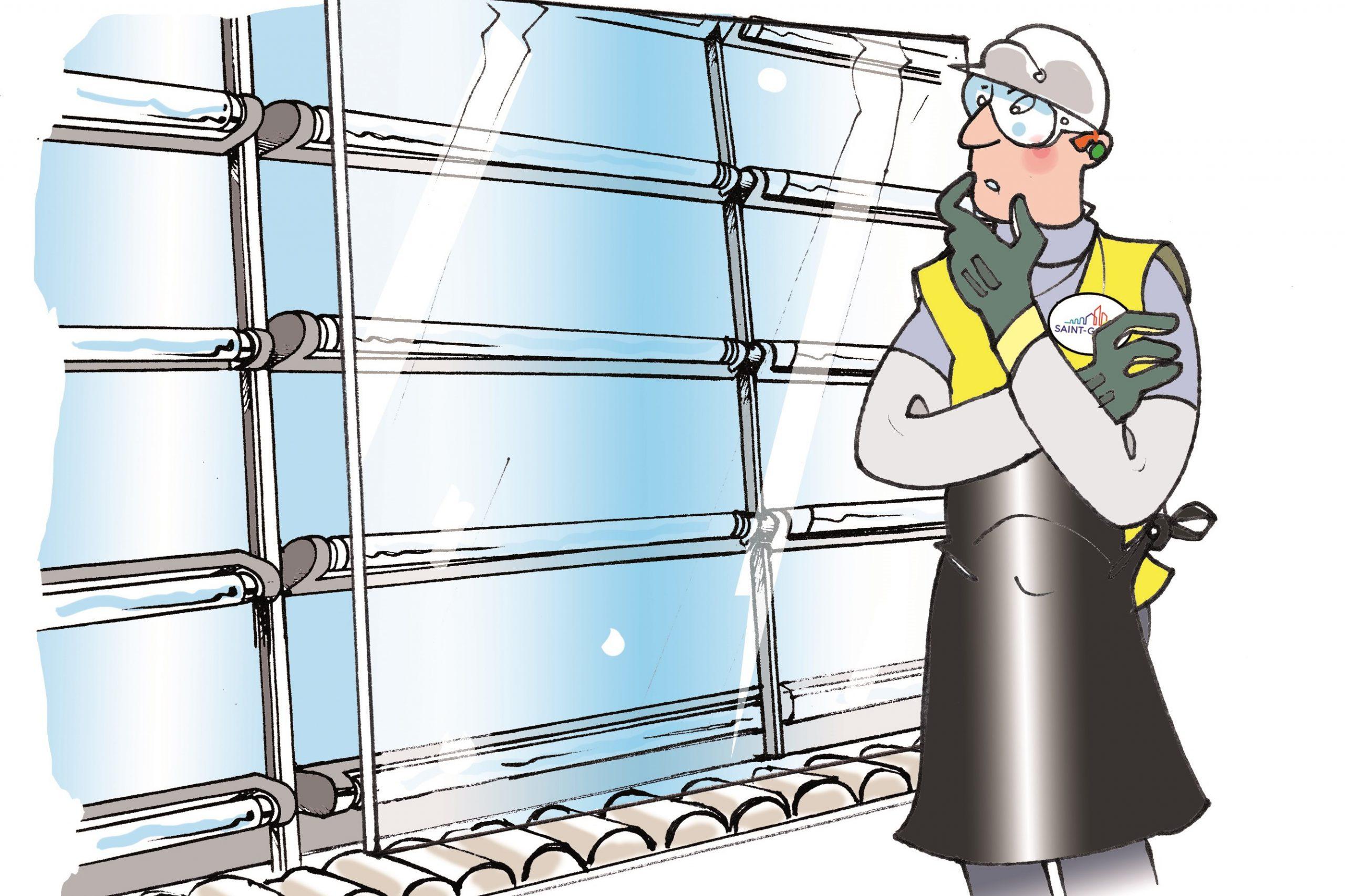 Gezeichnete Darstellung: Begutachtung des Glases bei der Isolierglasherstellung