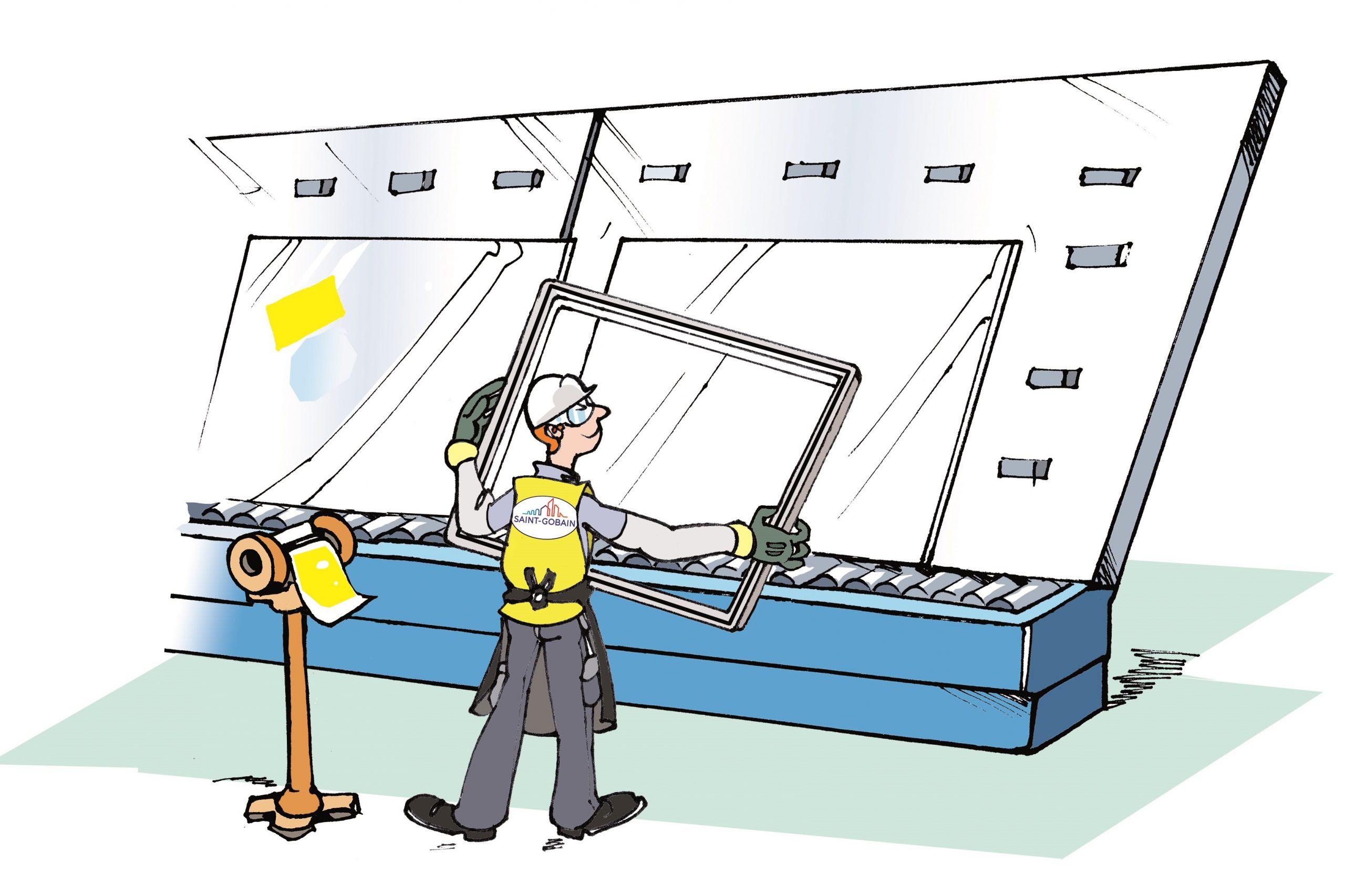 Gezeichnete Darstellung: Aufsetzen des Zwischenrahmens bei der Isolierglasherstellung