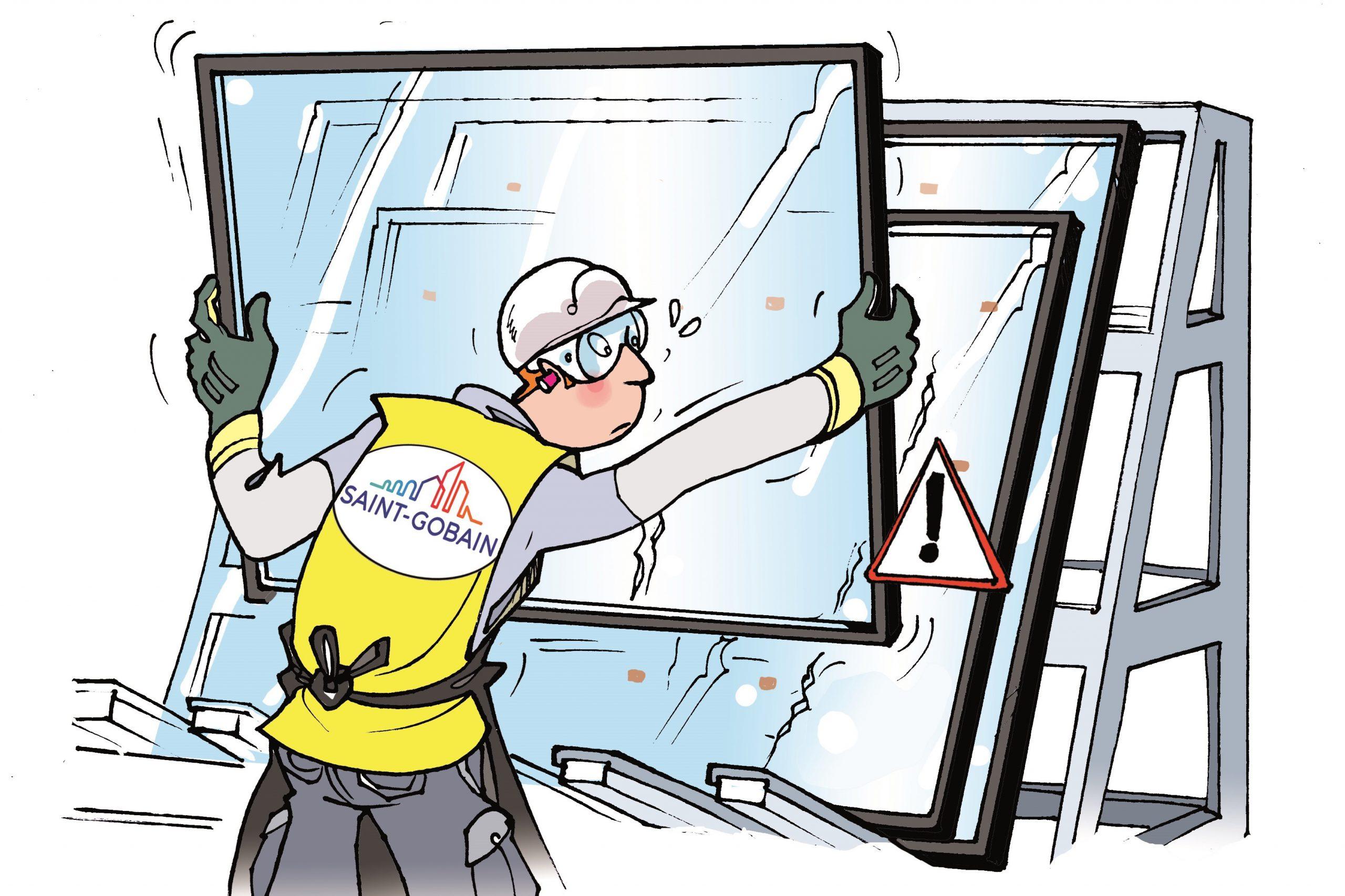 Gezeichnete Darstellung: Abstellen des Isolierglases auf den Bock